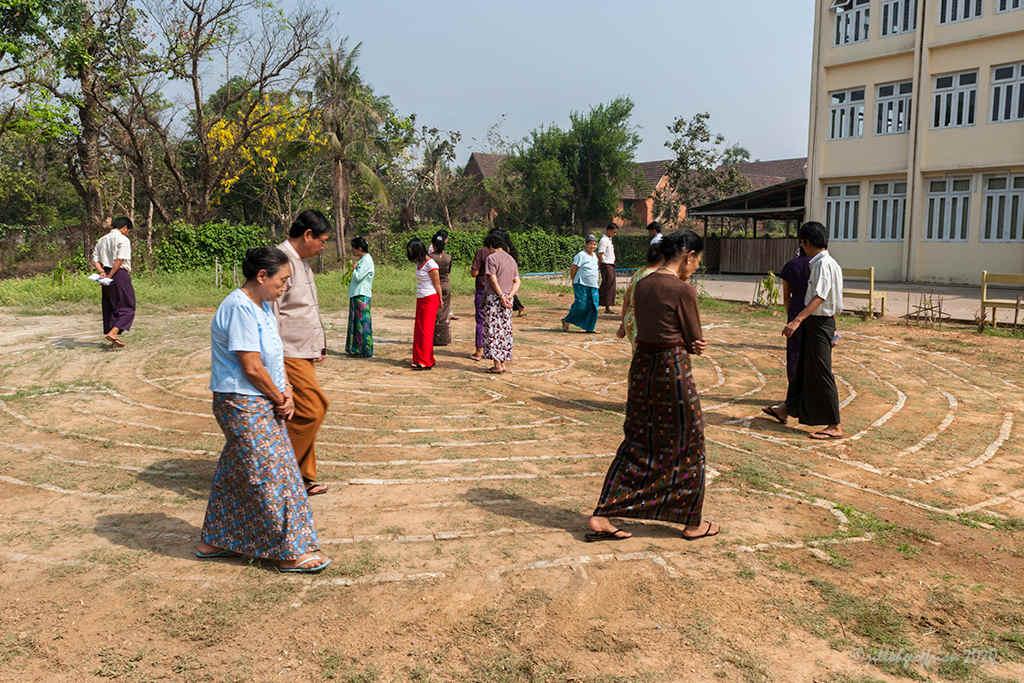 Women Walking the Labyrinth in Yangon by Jill K H Geoffrion, photographer