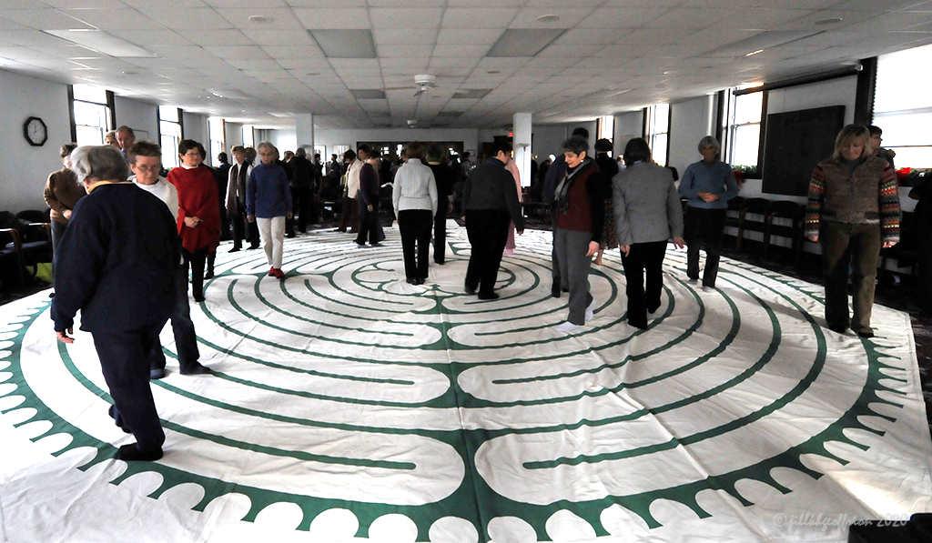 Wisdom Ways Canvas labyrinth by Jill K H Geoffrion, photographer
