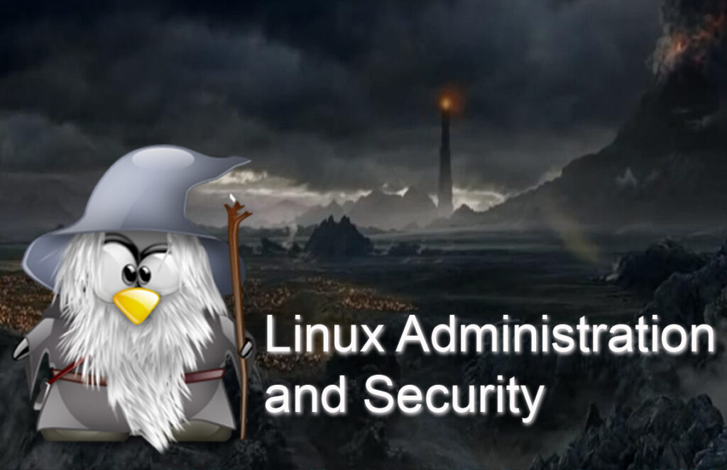 tux, the linux penguin, dressed as gandalf the gray in mordor