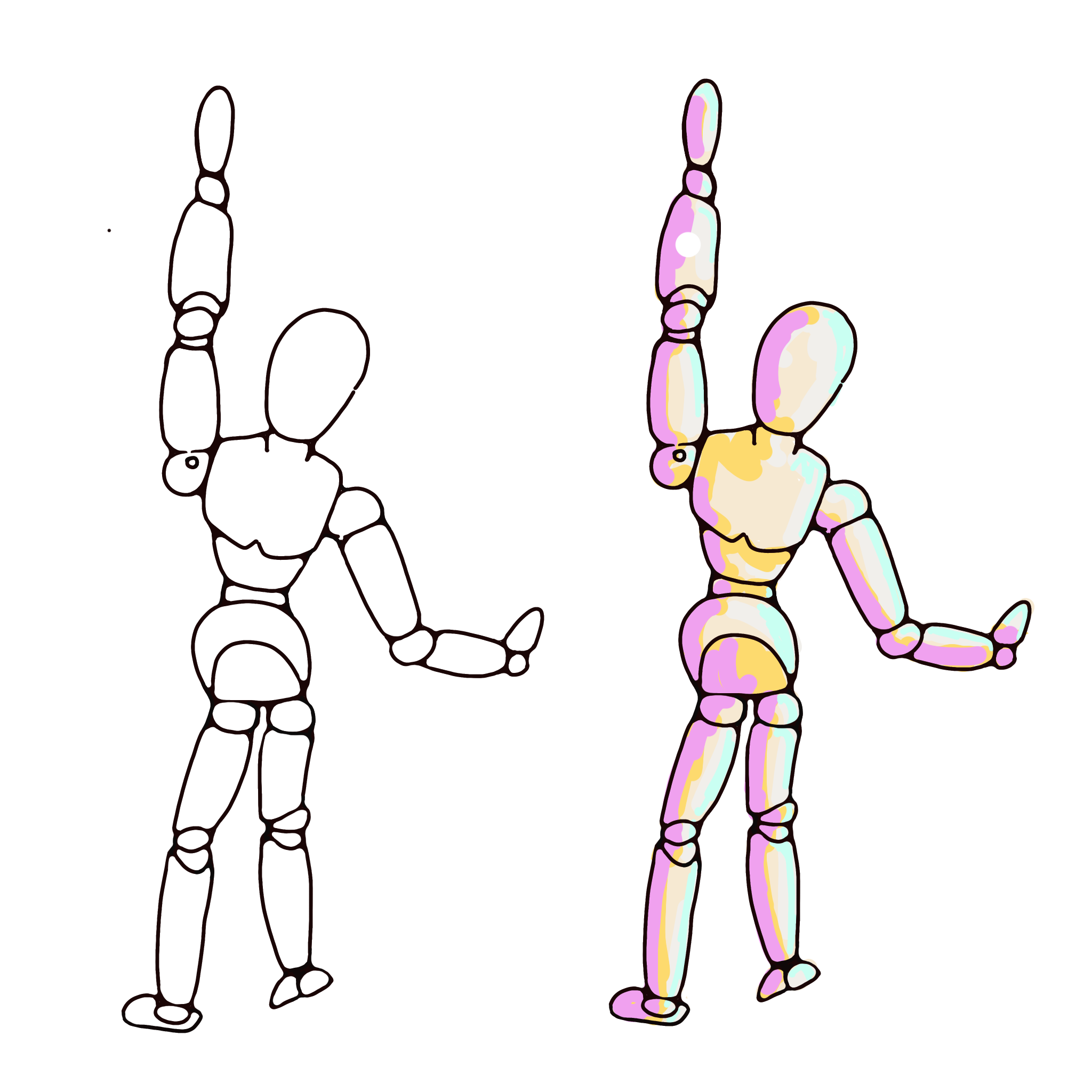 PNG of Artist Figure Reaching Up
