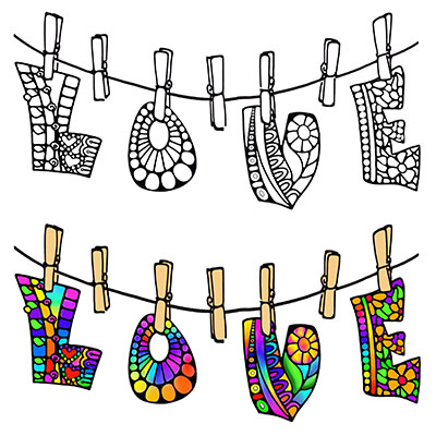 Illustration of LOVE On A Clothes Line