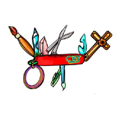 Color Illustration of a Swiss Army Knife featuring artist tools with a CBJ Logo