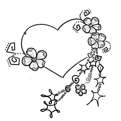 Heart With Flowers & Dangles