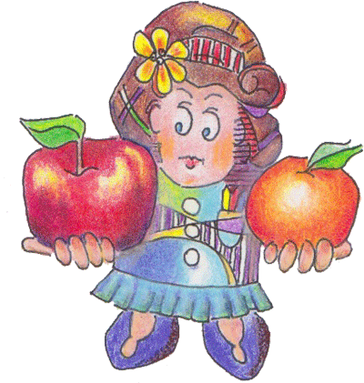 Illustration of woman holding an apple and an orange