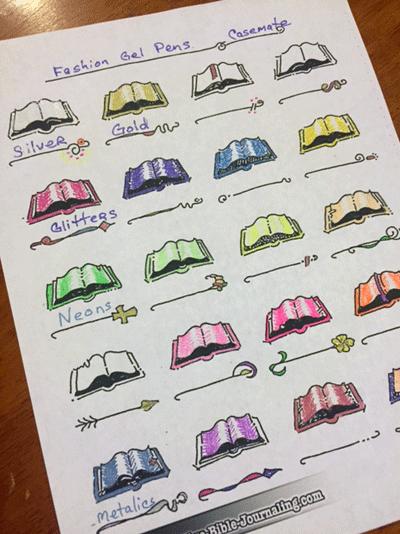 Casemate Fashion Gel Pen Color Chart