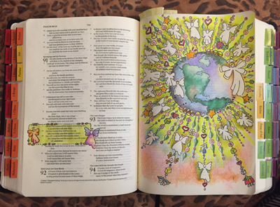 Full page art in Interleaved Bible of #Psalm 91:11