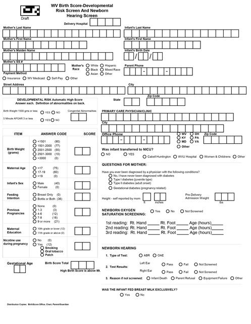Birth Score Eform