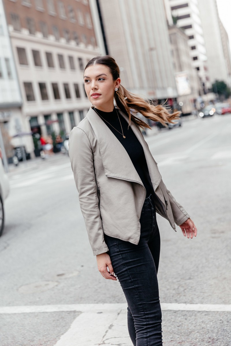 chic work outfit, fall outfit, chic outfit idea, street style outfit, faux leather jacket outfit   Thoughts on life after college shared by popular Dallas life and style blogger, Never Without Lipstick