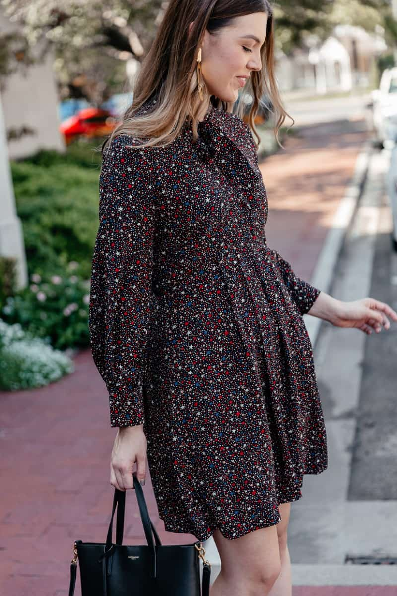 fall dresses, fall dress outfit, fall dresses with boots, fall dresses for work, fall dress with booties, joie lara booties, madewell balsam tie-neck dress, ysl toy shopping tote, fall outfit idea   Cute Fall Dresses for work featured by top Dallas fashion blog, Never Without Lipstick