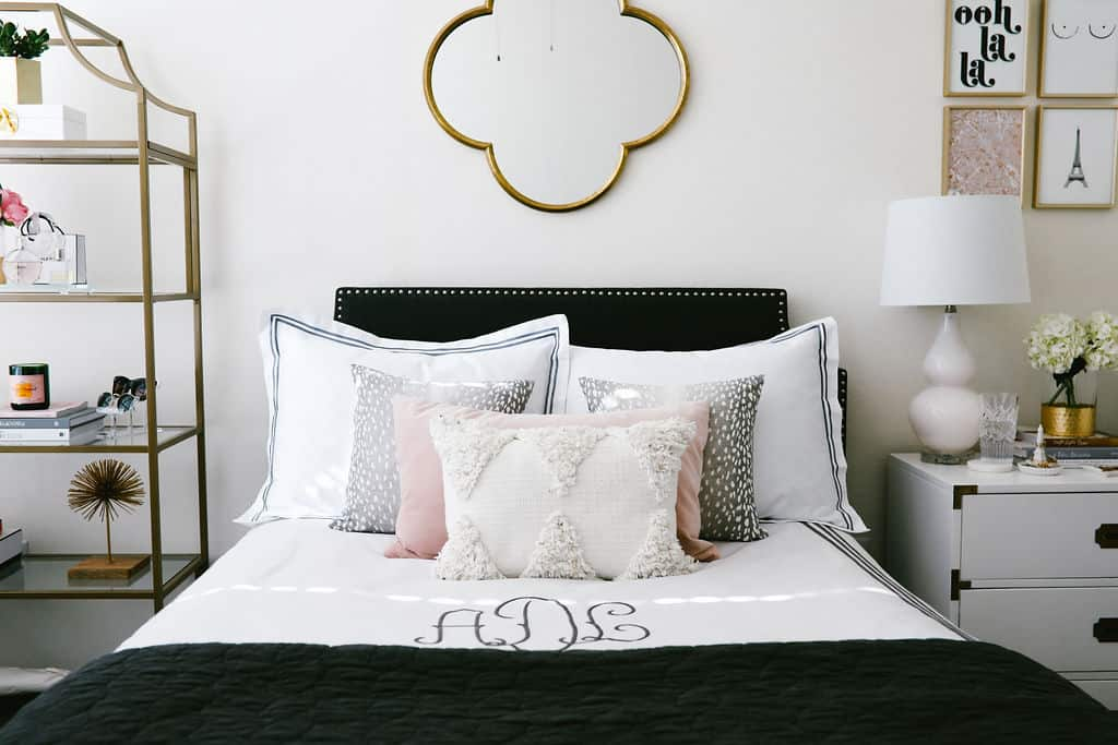 blush pink apartment, apartment bedroom decor, nightstand decor, apartment decorating on a budget, first apartment decorating  | Blush pink and grey home decor featured by top Dallas life and style blog, Never Without Lipstick