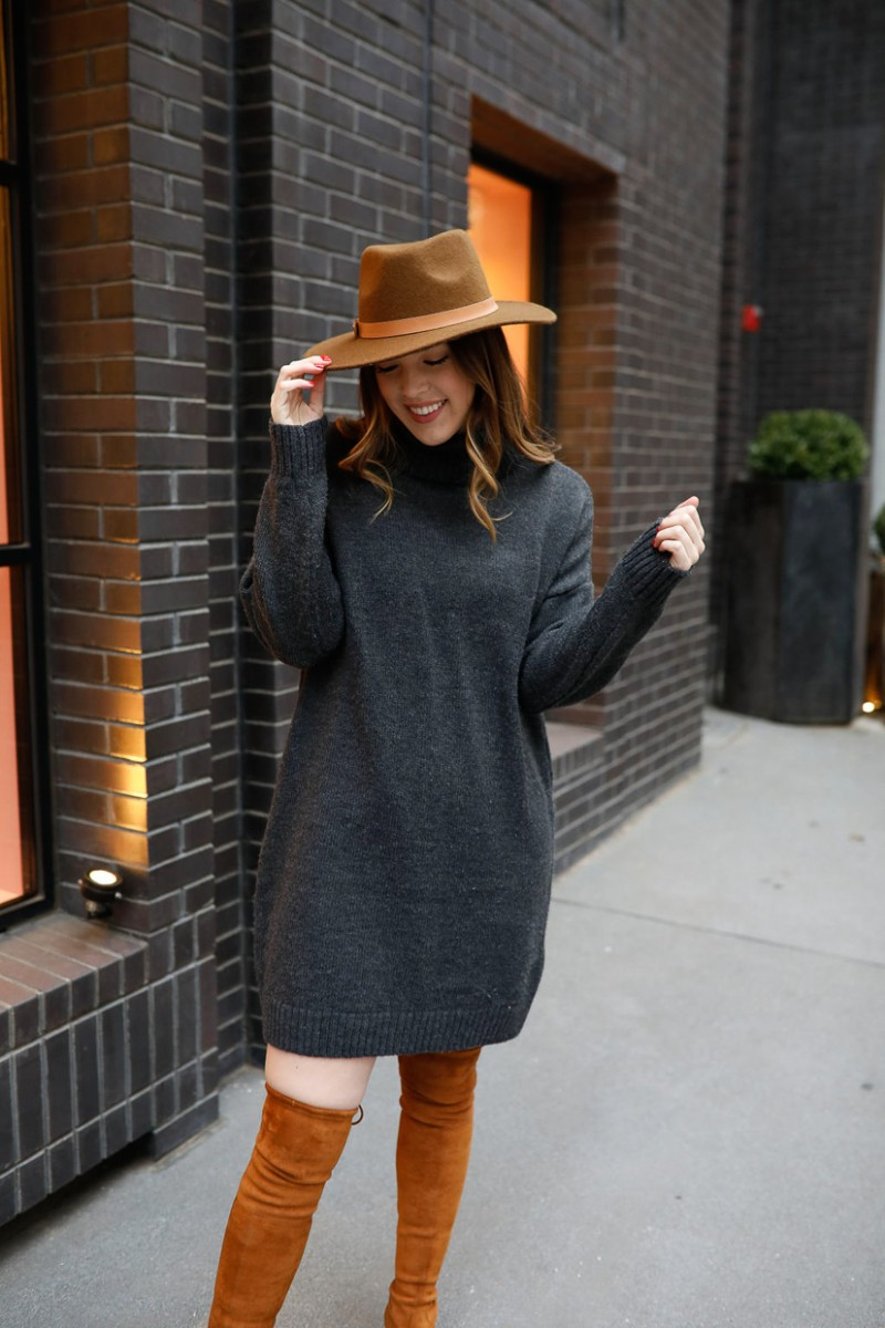 work to weekend, turtleneck sweater dress, over the knee boots outfit, stuart weitzman lowland dupe, casual winter outfits, winter outfit ideas, womens fashion, womens style   Work to weekend clothing for winter featured by top US fashion blog, Never Without Lipstick: image of a woman wearing a TOPSHOP sweater dress, Kaitlyn Pan over the knees suede boots, and a Universal Thread suede Panama hat