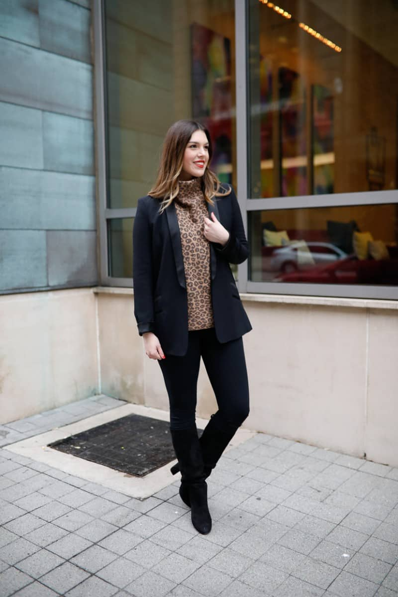 work to weekend clothing, winter work outfit, casual winter work outfit, leopard sweater, winter work outfit boots   Work to weekend clothing for winter featured by top US fashion blog, Never Without Lipstick: image of a woman wearing a Who What Wear leopard turtleneck, SPANX leggings, MURAL boyfriend blazer, Sam Edelman knee high boots, Givenchy leather tote, Amazon hoop earrings