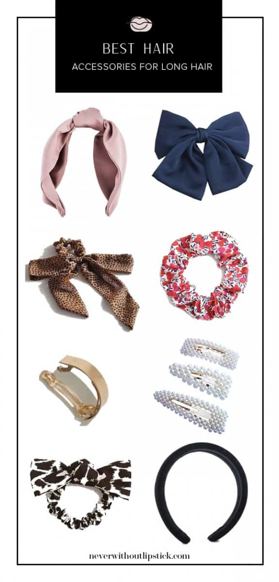 hair accessories for women, hair accessories headbands, headband hairstyles, headband hairstyles for long hair, hair scrunchies, hair scarves, hair scarf styles, hair scarf ponytail | Best Hair Accessories for Long Hair featured by top US fashion blog, Never Without Lipstick
