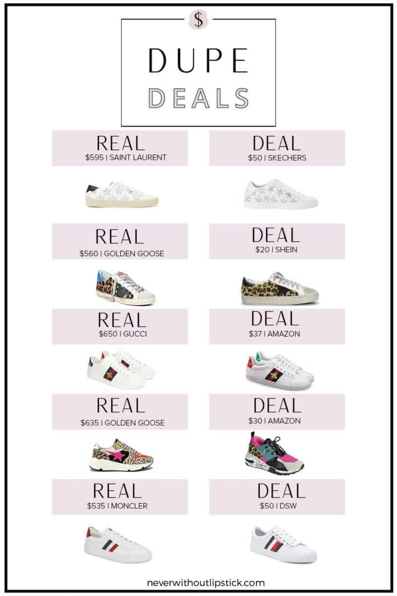 Best Designer Sneaker Dupes featured by top US fashion blog, Never Without Lipstick   golden goose dupes, gucci sneaker dupes, designer sneakers, golden goose lookalikes, amazon dupes, amazon finds