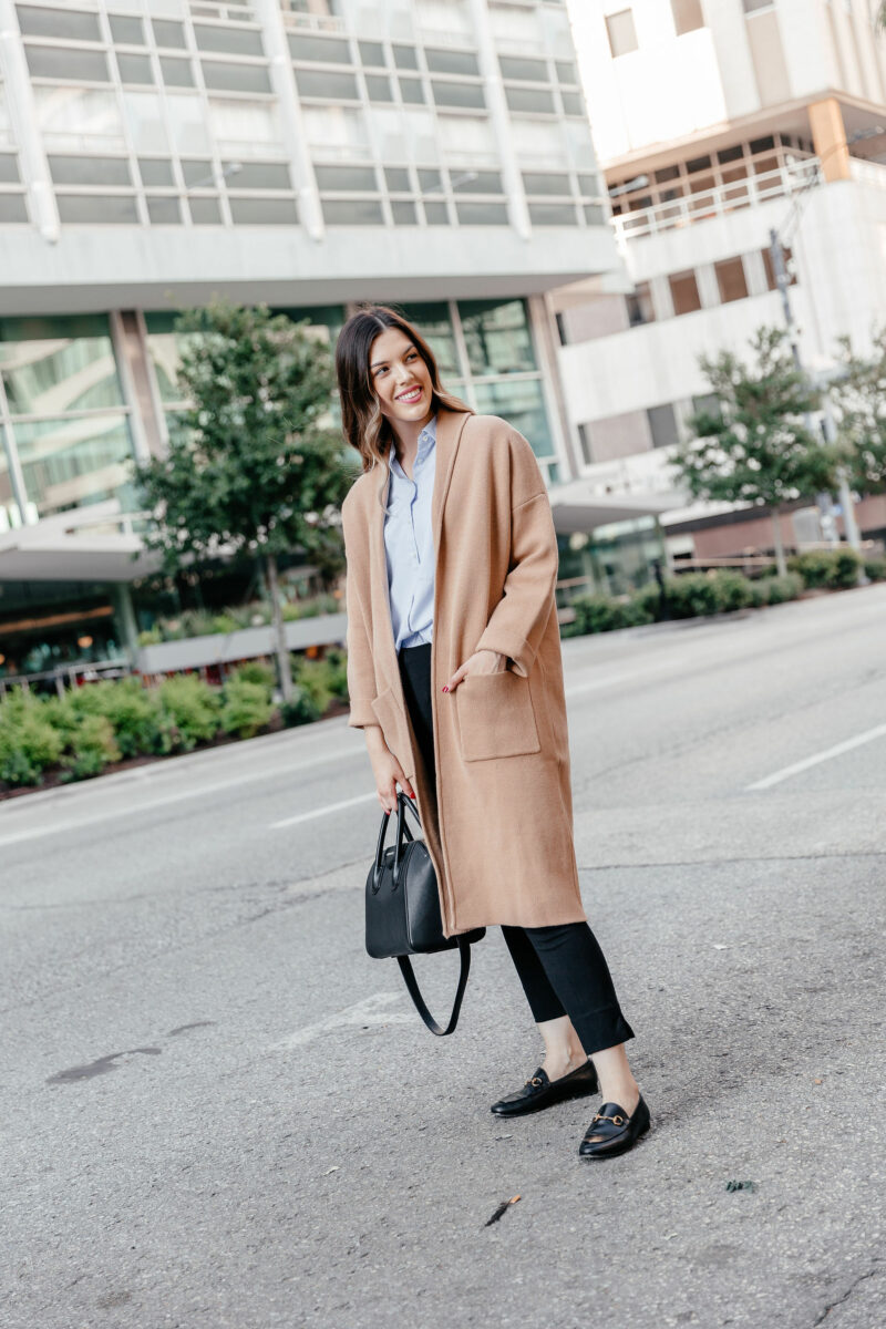 Dallas style blogger Never Without Lipstick shares her top 10 list of must-have fall essentials for this fall season - click to read! | fall 2019 trends, fall must haves, knit coat outfit, gucci loafers, givency antigona bag