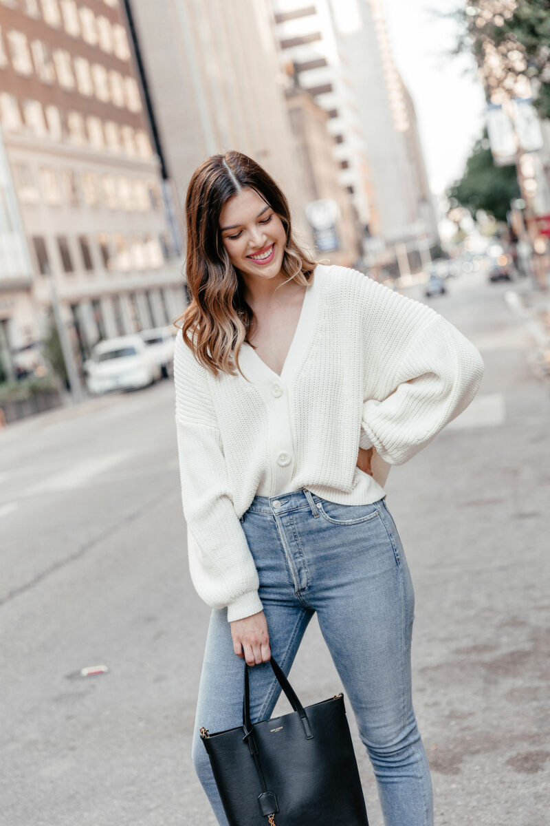 Dallas style blogger Never Without Lipstick shares her top 10 list of must-have fall essentials for this fall season - click to read! | fall 2019 trends, fall must have, ysl mini tote bag, chunky cardi outfit, oversized cardi outfit