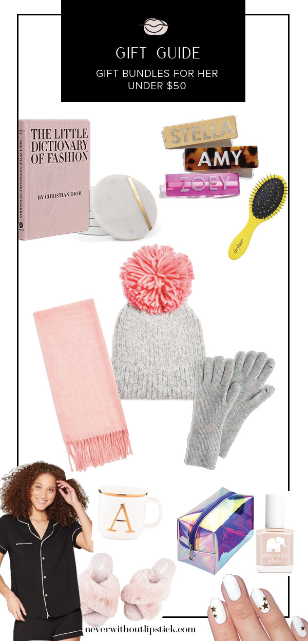 Gift bundles for her under $50 featured by top US life and style blog, Never Without Lipstick