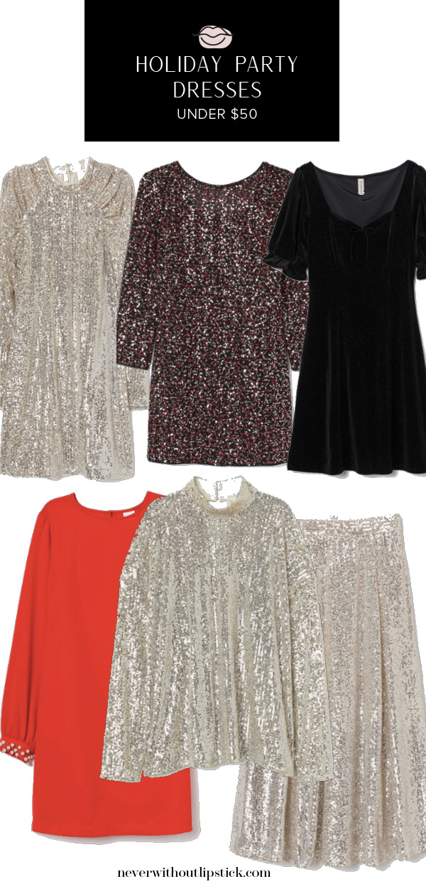 Cute Holiday Party Dresses under $200 featured by top US fashion blog, Never Without Lipstick