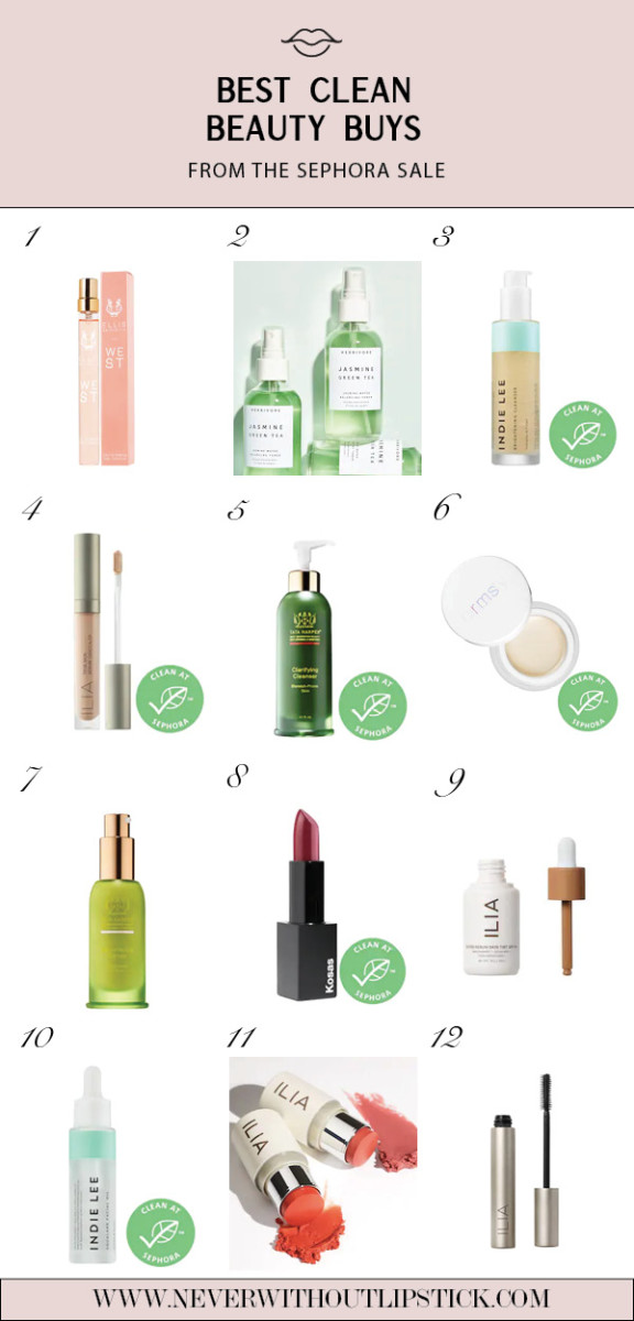 Sephora Favorites: 12 Best Clean Beauty Buys from the Latest Sephora Sale featured by top Dallas beauty blog, Never Without Lipstick   Sephora Spring Sale by popular Dallas beauty blog, Never Without Lipstick: collage image of Sephora Ilia Super Serum Skin Tint Foundation, Sephora Indie Lee Brightening Cleanser, Sephora Ellis Brooklyn Perfume, Sephora Ilia Multi-Stick, and Sephora Kosas Lipstick.