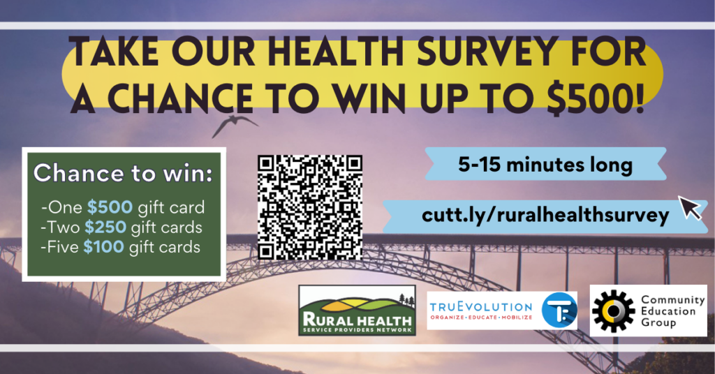 Take our health survey for a chance to win up to $500. https://cutt.ly/ruralhealthsurvey