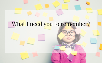 What I need you to remember: