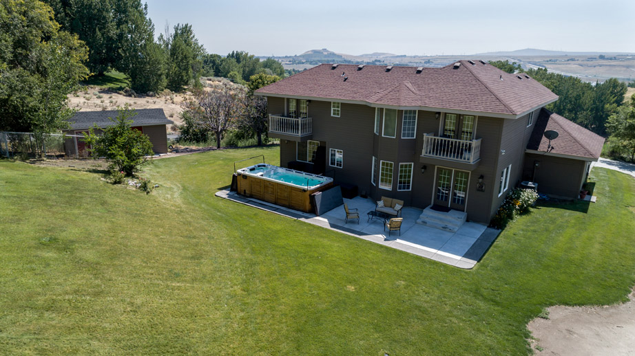 Back Yard with Hot Tub Aerial