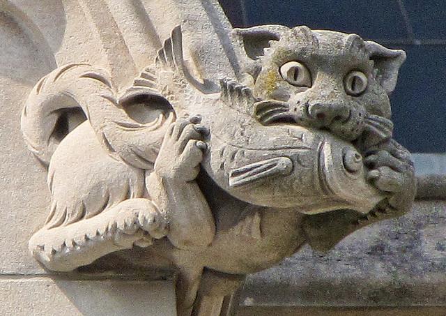 Acid precipitation damages limestone and marble stonework