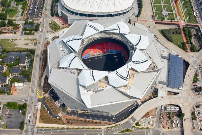 Atlanta's Mercedes-Benz Stadium features an innovative, retractable roof design