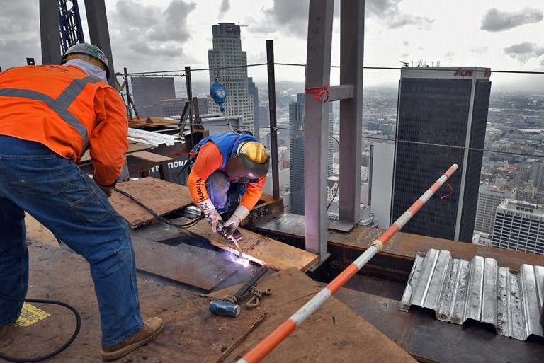Ironworkers helped the Wilshire Grand Center set a world record during its construction