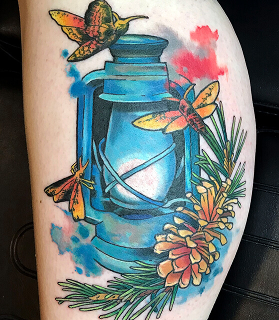 moth and lantern tattoo