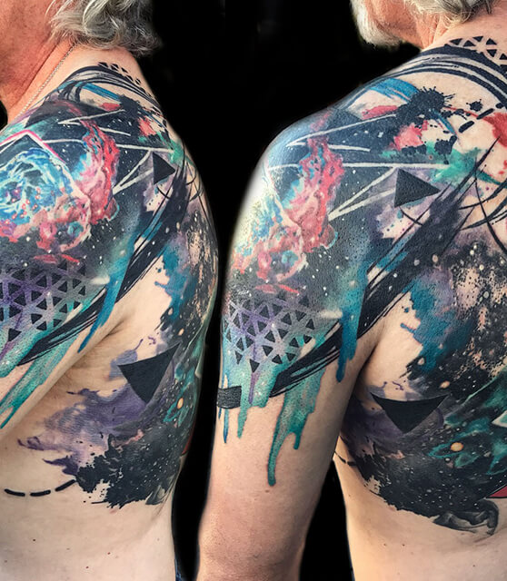 abstract space tattoo