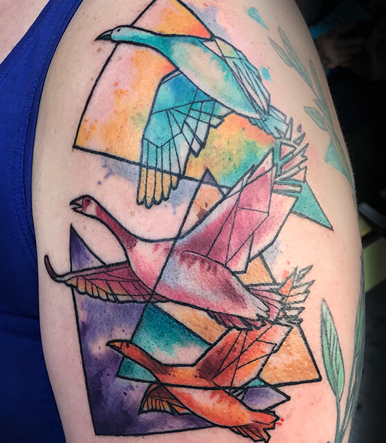 watercolor goose tattoo