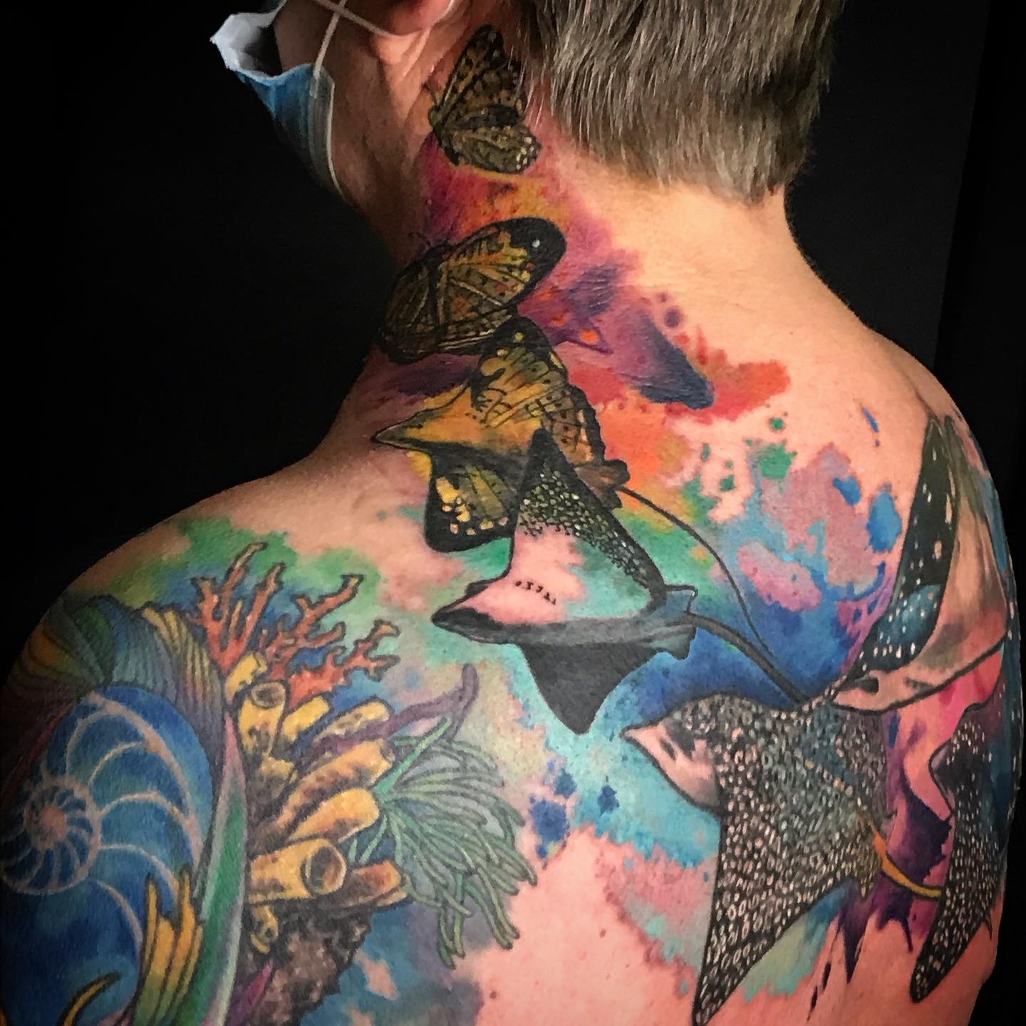 Manta Rays into Butterfly Watercolor tattoo
