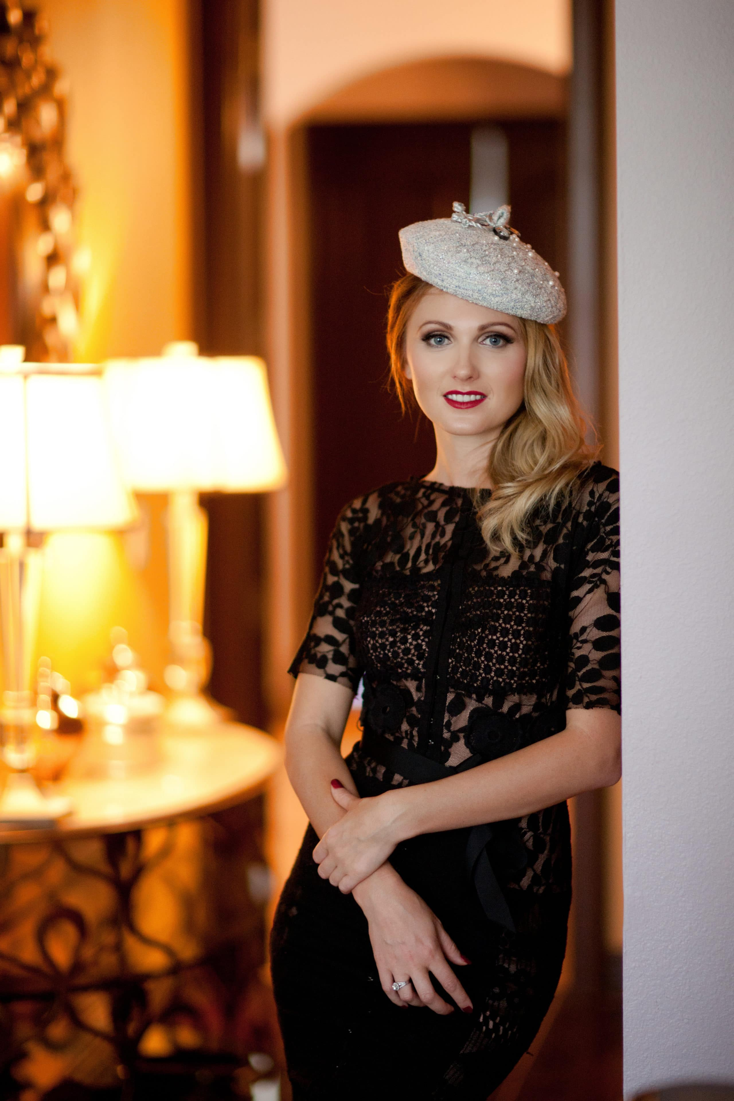 Beautiful model in a black dress by Tamara Knight Photography