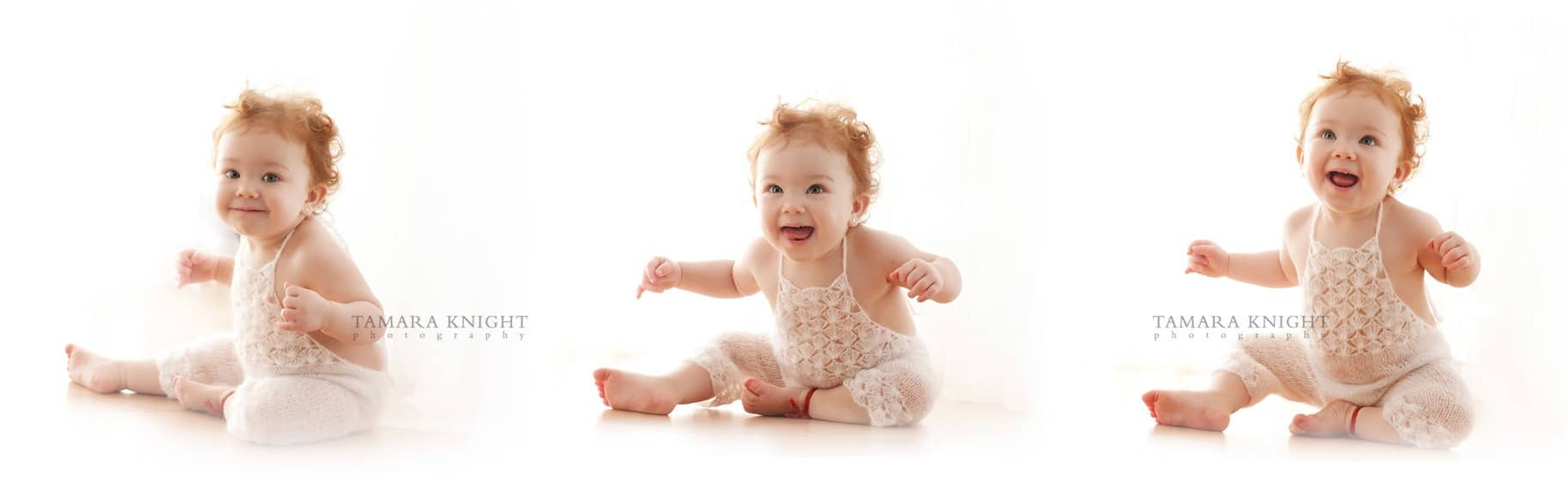 A smiling and dancing baby girl is sitting on the floor done by Orlando photographer in Orlando studio. family photographer
