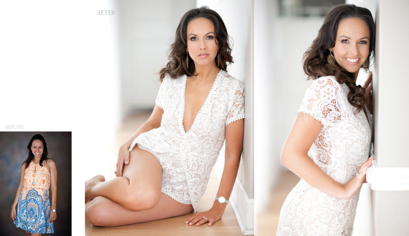 Before and after, Beautiful woman by Tamara Knight Photography, modern beauty photographer, hair and makeup, Orlando photographer, Orlando beauty