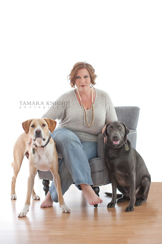 April Cox portrait with dogs by Tamara Knight Personal Branding Photographer
