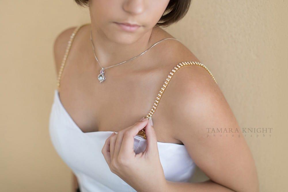 close up of rhinestone bra strap, product branding photography