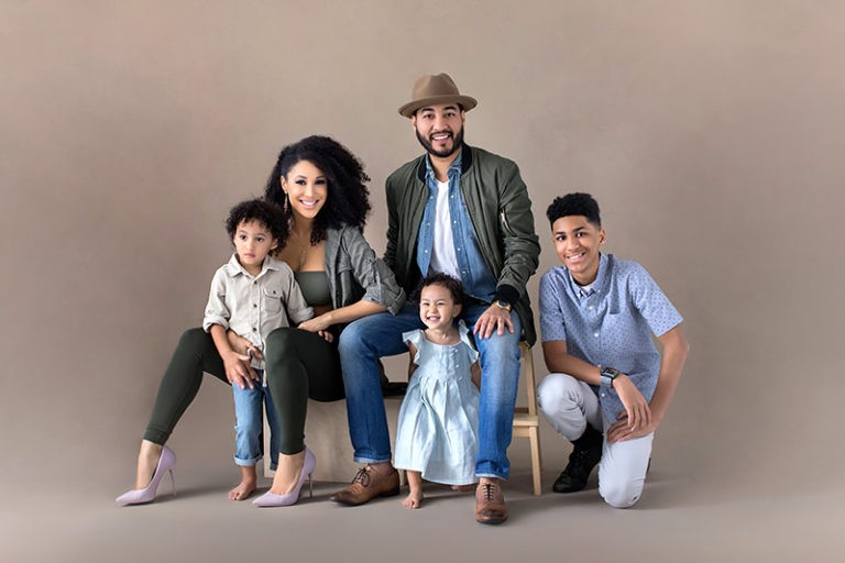 family of five in casual dress group during their family photoshoot
