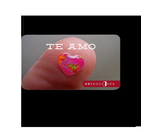"""Close up of Te Amo front card"""