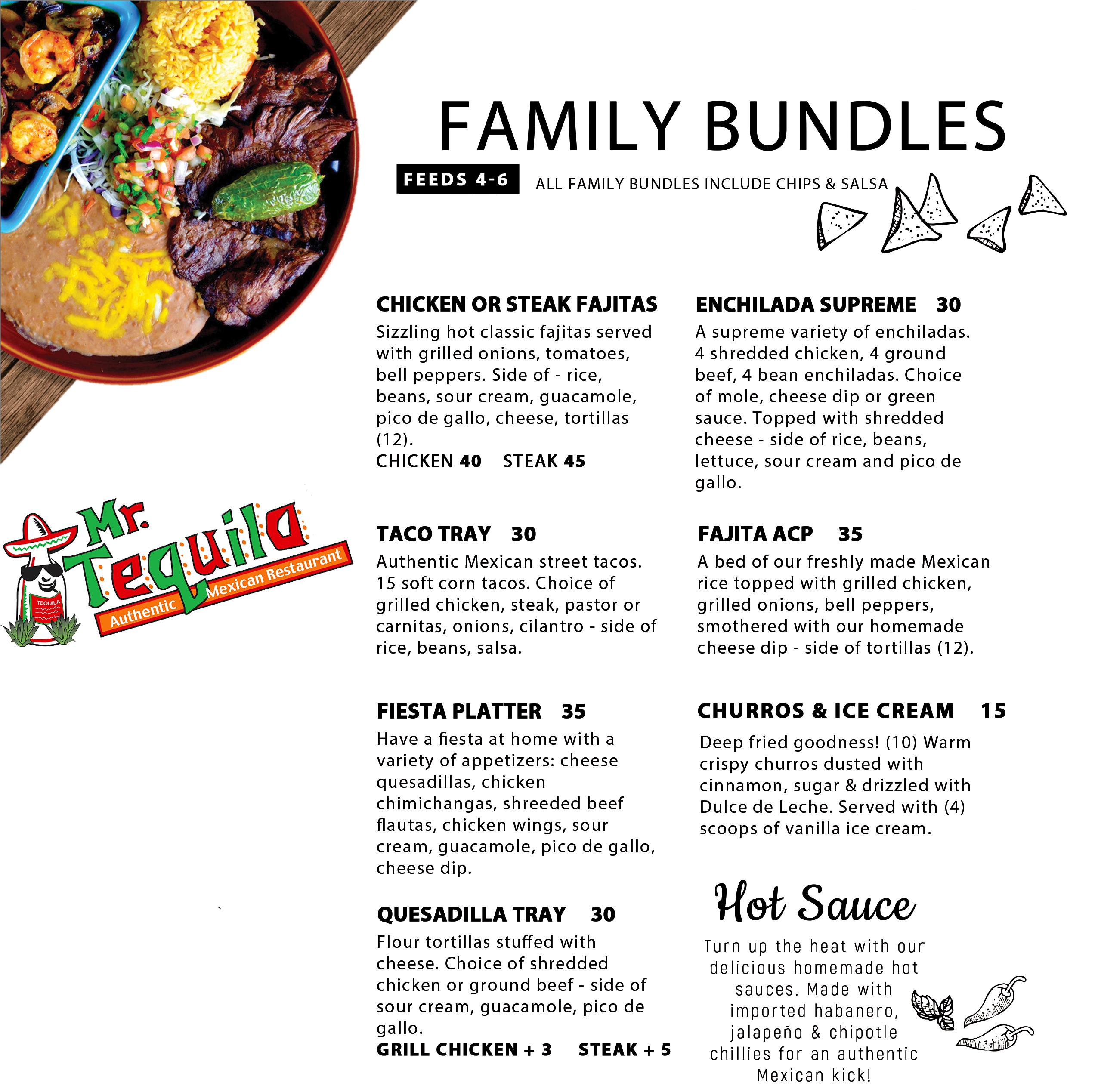 Mr. Tequila Authentic Restaurant Family Bundle Menu