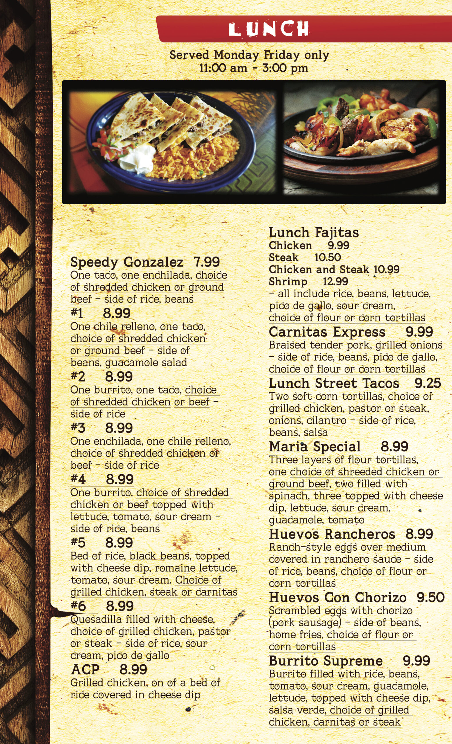 Mr. Tequila Mexican Restaurant Sarasota Bradenton Lunch Menu 72