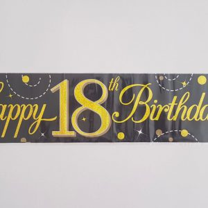 Black and Gold 18th party banner.