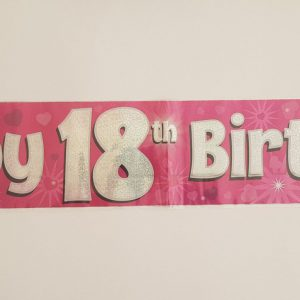 Pink 18th party banner.