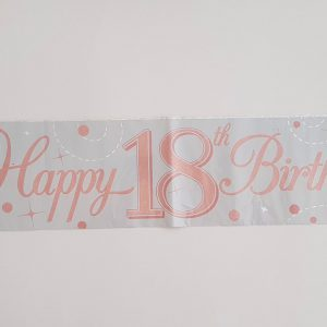 White and Rose Gold 18th party banner.