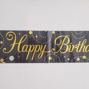 Black and Gold Happy Birthday party banner.
