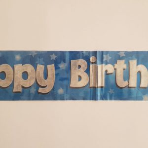 Blue Happy Birthday party banner.