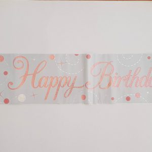 White and Rose Gold Happy Birthday party banner.