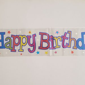 Silver Happy Birthday party banner.