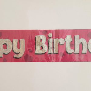 Pink Happy Birthday party banner.